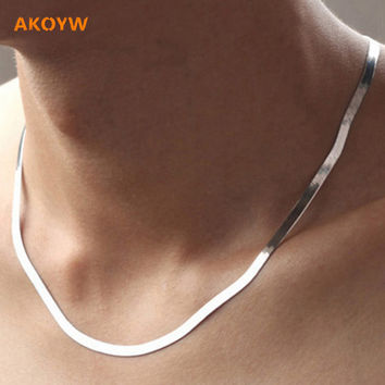 Ms. 2016 new silver necklace flat snake bone chain men domineering fashion high quality jewelry 45CM-50CM