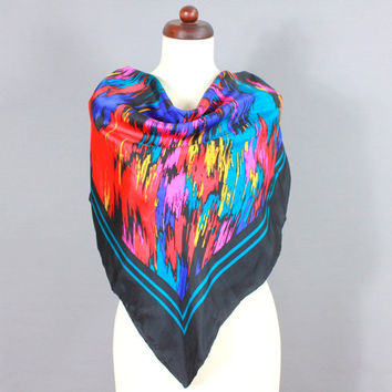 Vintage Silk Scarf Abstract Art Colour Splash Aquarell Multi Coloured Carré Red Blue Turquois Yellow Pink Black 80s