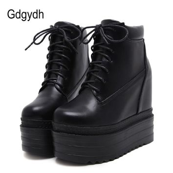 Gdgydh 2018 New Arrival Women Wedges Shoes Ankle Boots Lacing Increasing High Heels Casual Shoes Women Platform Autumn Boots