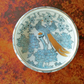 Gold Imari Hand Painted Peacock Lovebirds Dish Made in Japan
