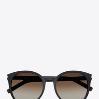SAINT LAURENT CLASSIC 6 SUNGLASSES IN BLACK ACETATE WITH BROWN GRADIENT LENSES | YSL.COM