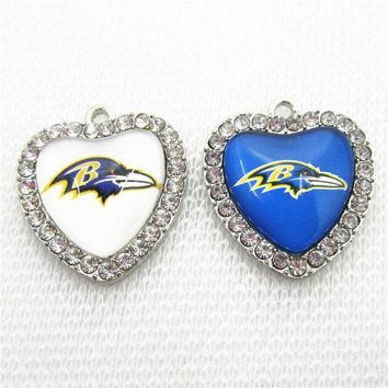 VONE05O 10pcs/lot Crystal Heart Baltimore Ravens Football Sports Dangle Charms DIY Bracelet Necklace Jewelry Hanging Floating Charm