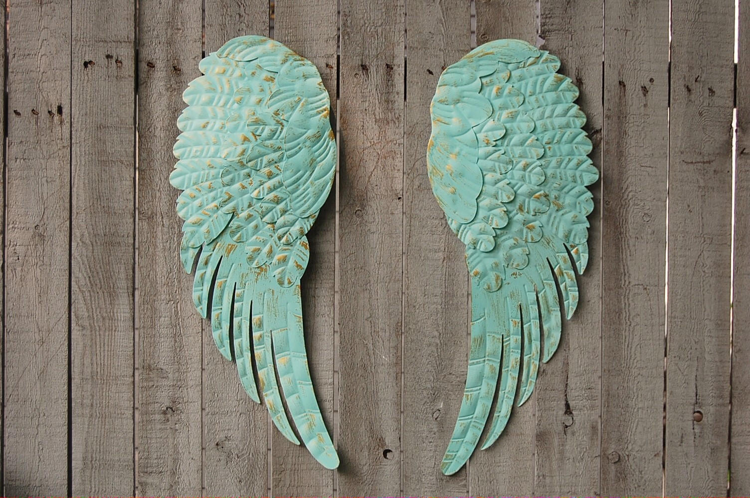 Aqua angel wings wall decor from the vintage artistry for Angel wings wall decoration