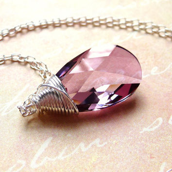 Pink Swarovski Crystal Necklace, Antique Pink Crystal Glass Wire Wrapped Pendant Necklace, Valentines Day Gift