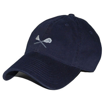 Lacrosse Sticks Needlepoint Hat in Navy by Smathers & Branson