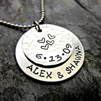 Couple's Anniversary / Wedding - Layered Hand Stamped Necklace / Keychain - Stainless Steel