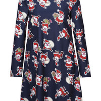 Black Santa Claus Print Long Sleeve Shift Dress