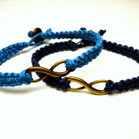 Infinity Bracelets, Set of Two, Bright and Navy Blue Hemp Jewelry, Couples or Friendship Bracelets