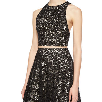 Sleeveless Lace Racerback Crop Top, Size: