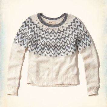 Shine Embellished Fair Isle Pullover