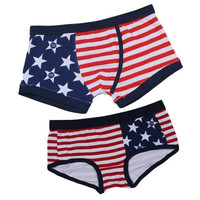 US Flag Pattern Couple Lovers New Lingerie Underwear Panties Briefs Underpants Set #mgsu = 1929832516