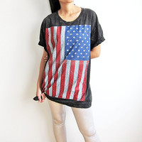 US American Flag Stars and Stripes Black T-Shirt Women Tee Shirt Top Size M
