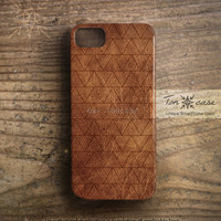Leather iPhone 4 case - iPhone 4s case, iPhone 5 case, High quality 3D printing, triangle - geometric pattern on leather (c177)