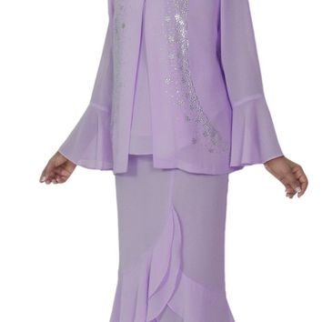 Hosanna 5129 Plus Size 3 Piece Set Lilac Tea Length Dress