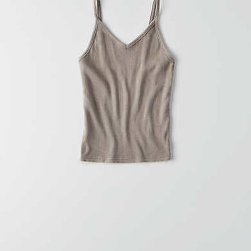 AEO First Essentials Crop Cami , Tar Ash