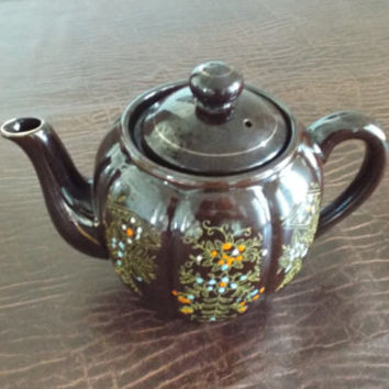 Vintage Brown Glazed Teapot with Leaf and Berries