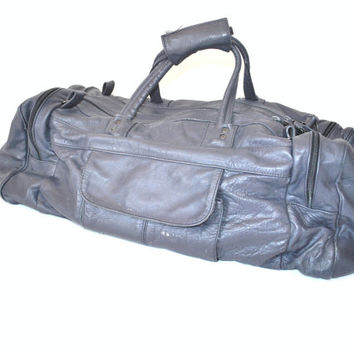 HUGE grey leather duffel bag vintage 1980s 80s large unisex minimalist WEEKENDER carry on luggage