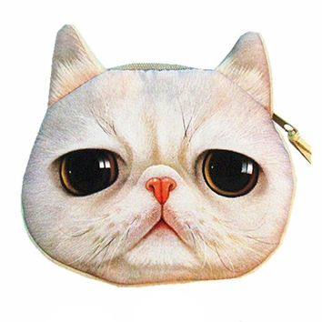 Grey Tabby Kitty Cat Face Shaped Soft Fabric Zipper Coin Purse Make Up Bag
