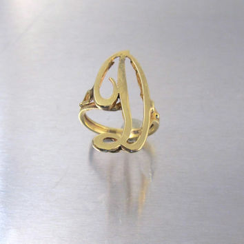 "14K Yellow Gold Initial Ring, Letter D Cursive Monogrammed Jewelry, Signet Knuckle Statement Large Single Initial ""D"" Ring, Size 6.25"