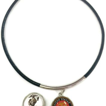"""US Military MARINE Snaps on  15"""" Necklace with 2 18MM - 20MM Snap Jewelry Charms"""