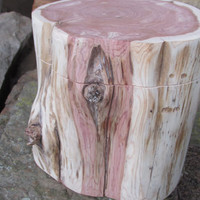 Unifinished Wood Box Made Completely From Red Cedar Log - Very Rustic