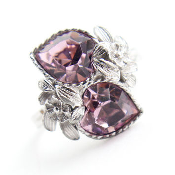 Vintage Pink Stone Heart Ring -  Retro Signed Sarah Cov 1970s Silver Tone Adjustable Rhinestone Costume Jewelry / Double Heart Love Story