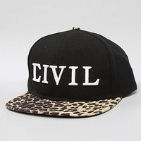The Civil Leopard Snapback in Black