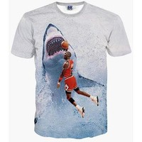 New Fashion Men&'s T-shirt 3d Print Star Jordan Dunk Shark lovely Tees Summer Tops T S