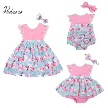Pudcoco 2017 Family Baby Girls Kids Floral Princess Dress Lace Romper Summer Headband Clothes Set 0-24M