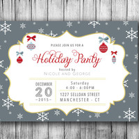 Holiday Party Invitation Christmas Celebration Merry Christmas Party Invites Ornaments Snow Winter Invite Grey Red White Gold(PRINTABLE DIY)