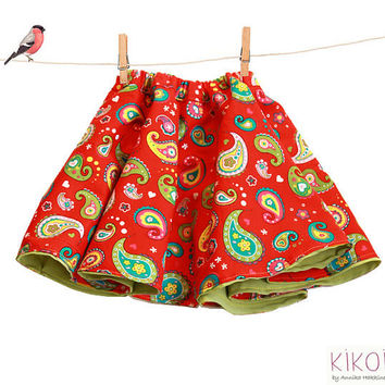 Toddler Skirt Sewing Pattern - reversible girls skirt pdf  pattern - sizes 6m to 9 years