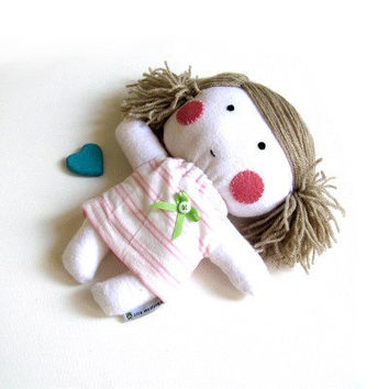 Rag doll toy baby girl kid kids stuffed puppet handmade cuddly plushie child friendly safe white pink striped dress clothes 11 inch