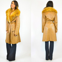 coffee colored LEATHER bohemian FOX fur belted TRENCH coat, small-medium