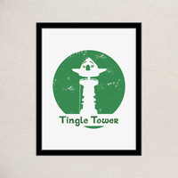 Zelda Tingle Tower Typography Print | Wind Waker | Minimalist Poster | Video Game Decor | Travel Destination | Hand Lettered Print