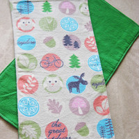 Outdoors Burp Cloths - Two double-sided flannel burp cloths - Animal Outdoors Print fron with Green Back