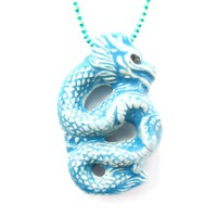 Oriental Dragon Shaped Porcelain Ceramic Pendant Necklace in Blue | Mythical Creatures Collection