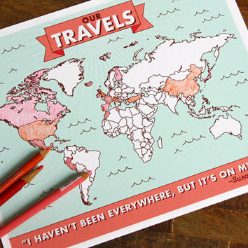 Color-in Travel Map Poster - interactive map, travel wall art, wall decor, color in map, my travel map, our travels map, diy, wedding gift