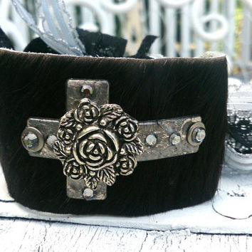 Hair On Hide Leather Rose Cross Cuff Bracelet Religious Western Cowgirl Jewelry
