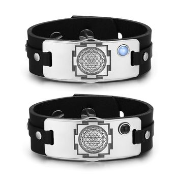 Sri Yantra Chakra Magic Energy Amulets Love Couples Blue Simulated Cat Eye Simulated Onyx Bracelets