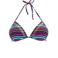 Purple and Blue Block Stripe Moulded Triangle Bikini Top