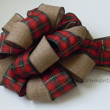 Country Christmas Bow Cottage Red Green Tartan Christmas Tree Bow Winter Holidays Xlarge Wreath Swag Bow