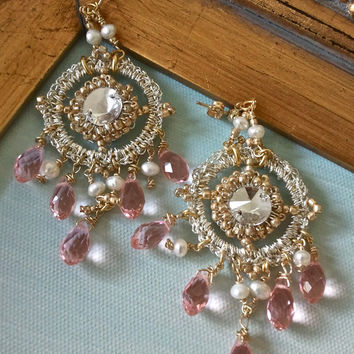 Gold Crochet Lace EarringsBridal Pearl JewelryChandelier by sukran