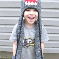 All in One Crochet Little Monster Hat Scarf and Mittens, sizes toddler to adults $45 - $65, MADE TO ORDER.