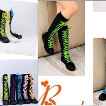 ONETOW PUNK Women Rock Boot Girls Shoes Sneaker Knee High Zip Laces Up revit boots black = 1945735236