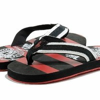 Polo Ralph Lauren Boy's Fashion Sandal Waayler Thong Shoes (6, Black/Red)