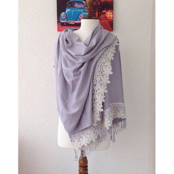 Silver Gray Wedding Shawls, Bridal Shawl, Luxurious Pashmina, Pashmina with French Lace, Bridesmaid Gifs, Luxurious Shawl, Best Seller