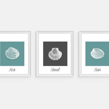 Sea Sand Sun Seashell Art Print Beach Nautical Sea Print Beach Decor Tropical Ocean Print Set of 3 - 5x7, 8X10, 11x14 Home Decor Wall Decor
