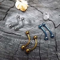 "Nipple Bars 14g Curved Titanium Barbells 1/2"" 13mm Stainless Steel Barbell Anodized Gold Blue Bent Bar Rings Body Jewelry Piercing Nipples"
