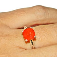 Carnelian Ring, Anniversary Ring, Healing Stone, Size 7