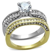 Gold & Silver CZ Stainless Steel Wedding Ring Set